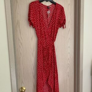 H&M red and white polka dot new wrap dress